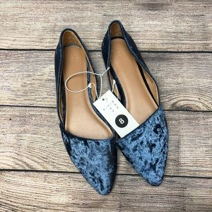 A New Day Blue Velvet Point-toe ballet Flats NWT
